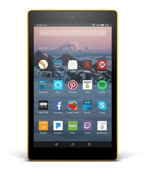 "Tablet Amazon Fire HD 8 KFKAWI 8"" 16GB canary yellow com memória RAM 1.5GB"