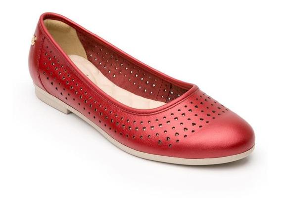Flats Flexi Para Mujer Casual En Piel Diseño Perforado 10170
