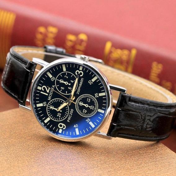Relógio Masculino De Pulso Clássico Aço Inoxidável Couro