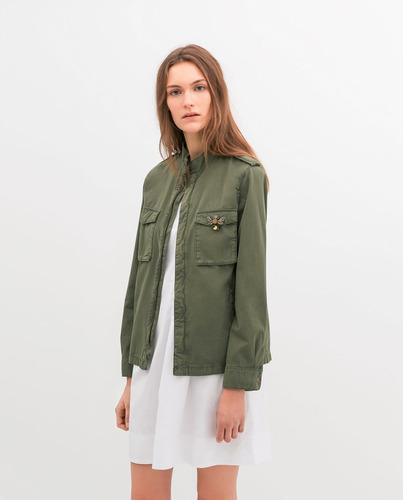 estilo distintivo 2019 original disfrute del envío de cortesía Chamarra Cazadora Zara Verde S #340 - $ 299.00