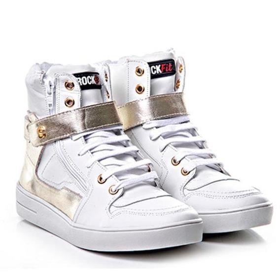 Tenis Sneaker Couro Napa Confort Branco / Dourado - Rock Fit