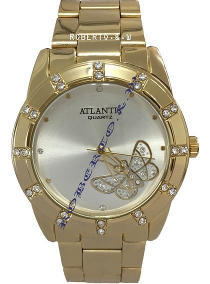 Relógio Feminino Atlantis Dourado Luxo Fundo Com Borboleta