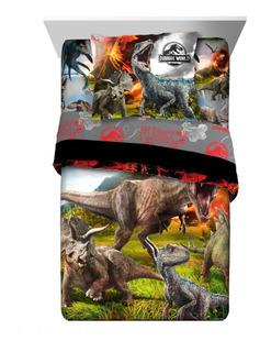 Edredon Jurassic World Individual 2 Piezas Nuevo