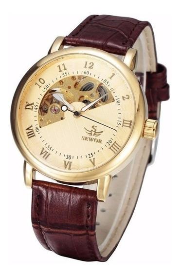 Relógio Sewor Sa030 Automático Dourado Luxo - Frete Grátis