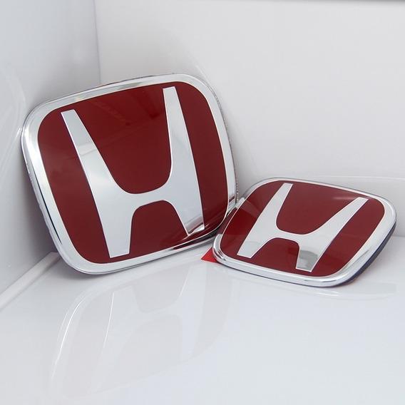 02 Emblema H Vermelho Dianteiro E Traseiro Civic 2007-2015