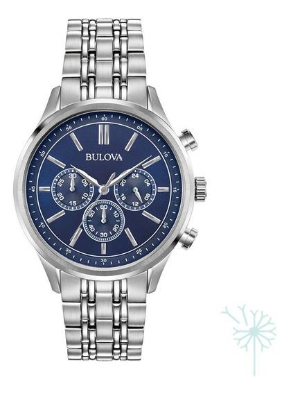 96a210 Reloj Bulova Clasico Para Caballero Plateado/azul