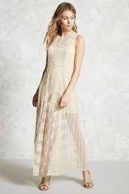 Vestido Largo De Encaje Y Bordado Forever 21