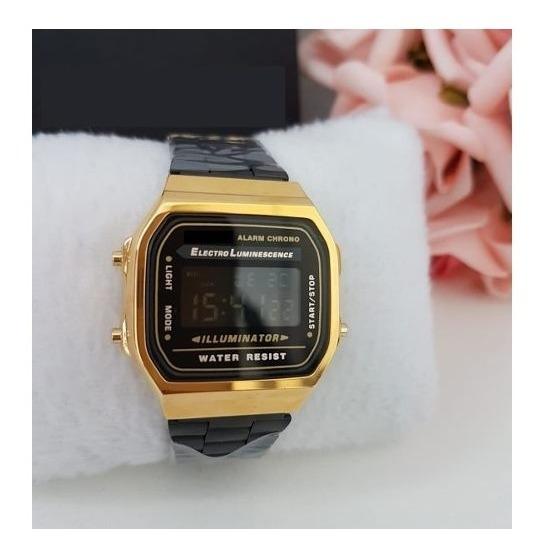 Relógio Pulso Preto Dourado Unisex Retrô Original Vintage