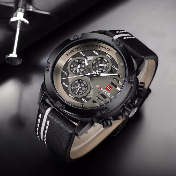 Relógio Masculino Original Naviforce 9110 Couro Promoção
