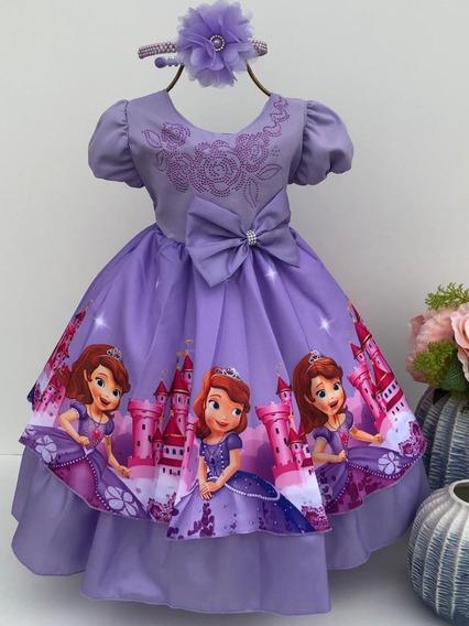 Vestido Infantil Princesa Sophia ( Tiara De Brinde )