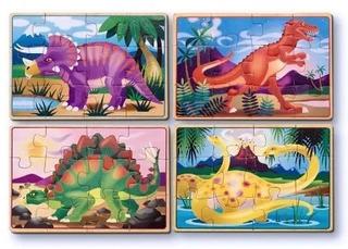 4 Rompecabezas De Madera - Dinosaurios - Envío Gratis