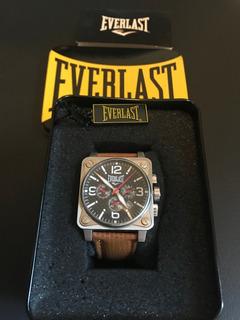 Relógio Everlast Com Pulseira De Couro E Caixa Originais