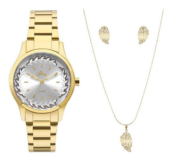Relógio Feminino Flor Dourado Allora Al2036cn/k4c