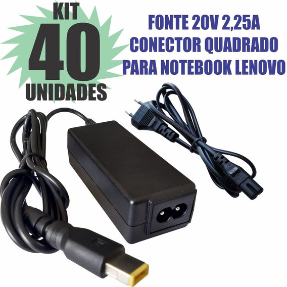Kit 40 Peças Fonte 20v 2,25a Conect Quadrado Notebook Lenovo