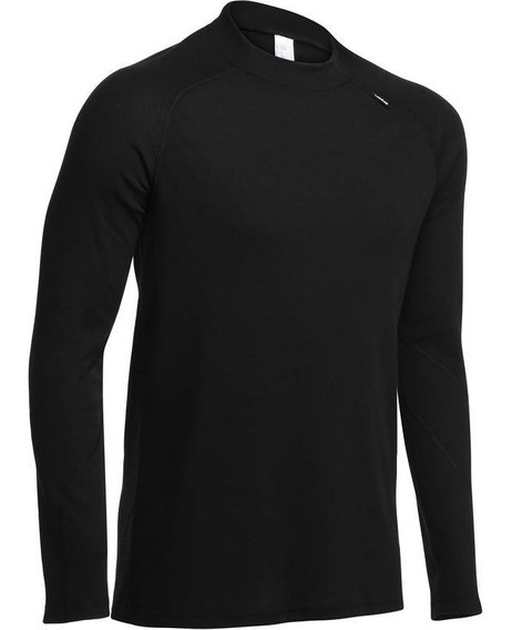 Playera Termica Hombre Simple Warm Negro Wed
