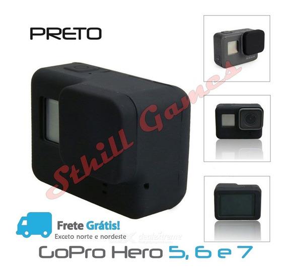 Capa + Tampa Em Silicone + Películas Para Gopro Hero 5,6 E 7
