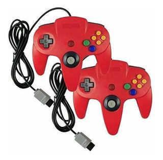 Set De 2 Controles Clásicos Para Nintendo N64 Color Rojo