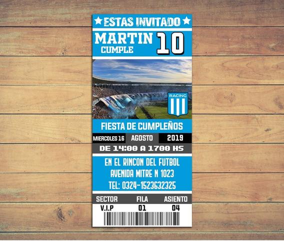 Invitaciones Racing - Texto Editable