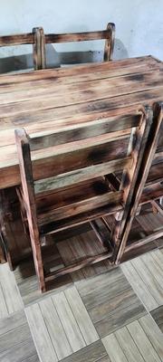 Mesa Feita De Palet 6 Cadeiras