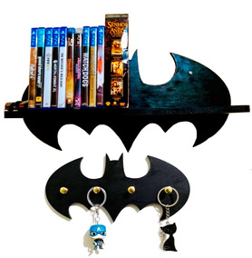 Prateleira Batman Livros Decoração + Porta Chaves Batman