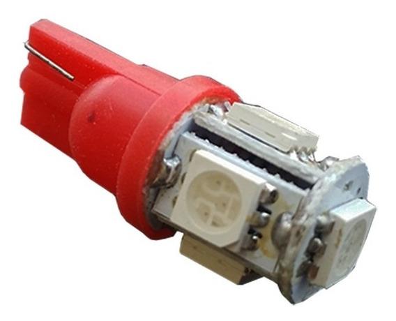 01 Lampadas Automotiva 3w Soquete T10 5 Leds Diversas Cores