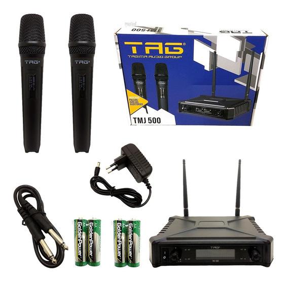 Microfone S/fio Transmissor Uhf Tagima-tag Tmj-500 Promoção