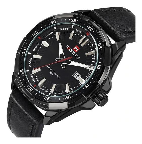 Kit 02 Relógio Masculino Naviforce 9056 Preto Couro Revenda