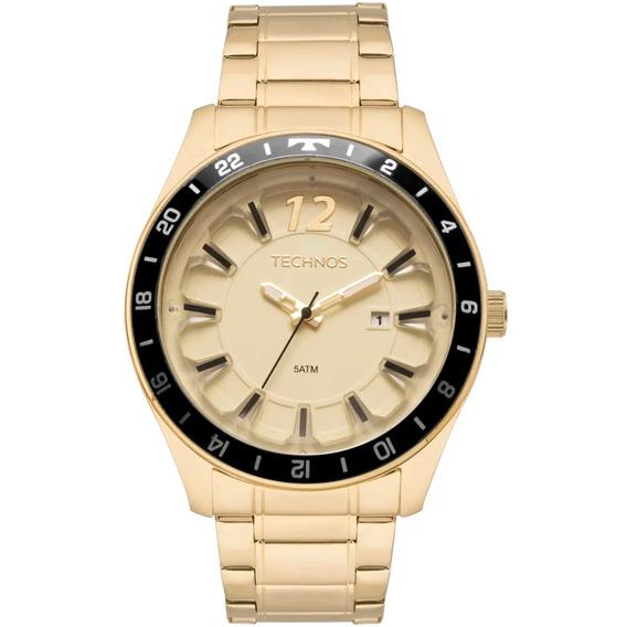Relógio Masculino Technos Original Aço Dourado T29