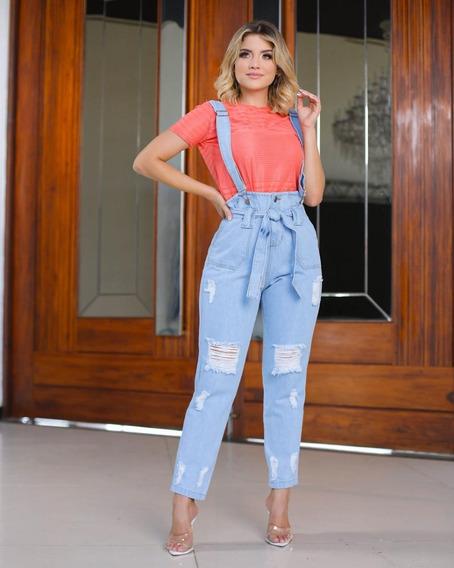 Calça Jeans Feminina Cintura Alta Com Suspensorio Linda