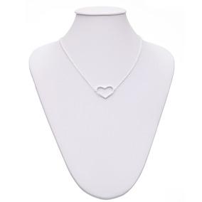 Chocker Ródio Branco Coração Vazado E Zircônia Cristal
