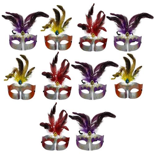 Antifaz Metalizado X 10 Unidades Con Plumas Set Mascaras Cot