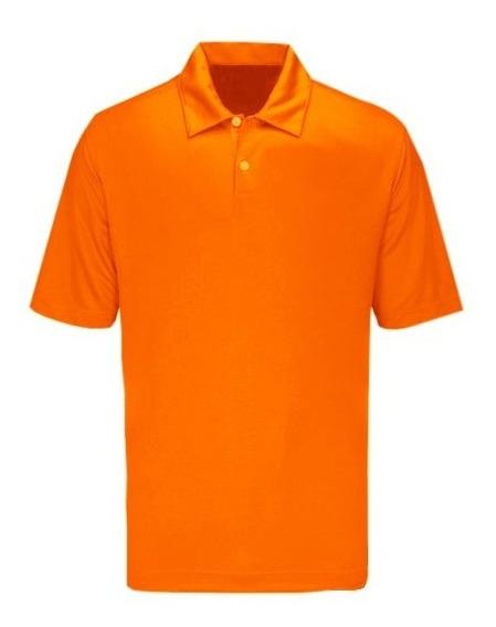 Playera Tipo Polo Manga Corta Dryfit Color Naranja +logo