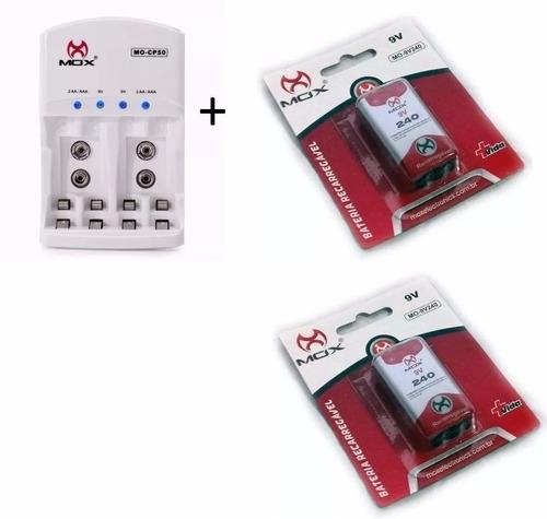 Imagem 1 de 6 de 2 Baterias Recarregável 9v 240mah Mox + Carregador Rápido