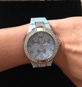 Relógio Guess Original Azul Bebe Perolado E Prata C/cristais