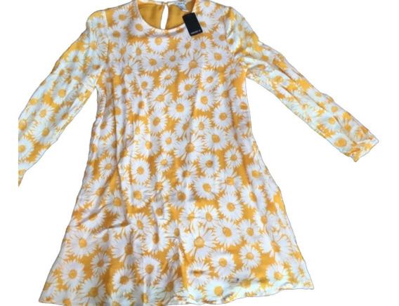 Forever 21 Vestido Midi Flores Mostaza Talla M