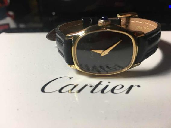 Lindo Relógio Cartier Fem. Plaque De Ouro 18 Kl Fundo Negro