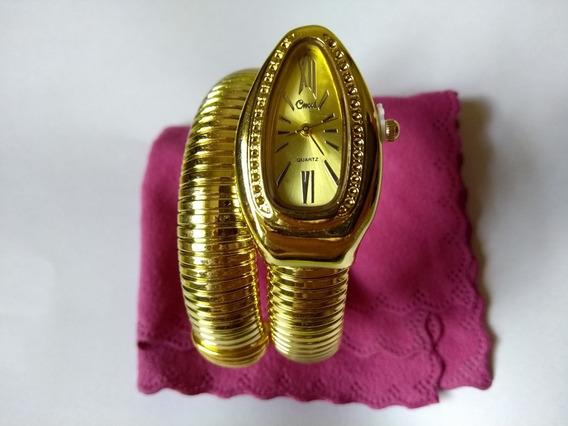Relógio Pulso Feminino Cobra Dourado Cussi Barato Uma Volta
