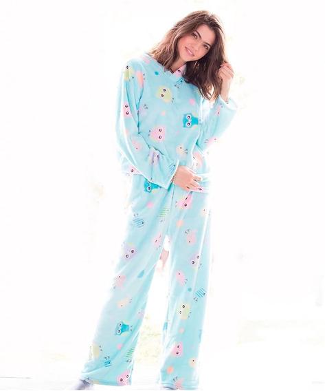 Pijama Para Dama Super Suave Buhos Calida Suavecita Comoda