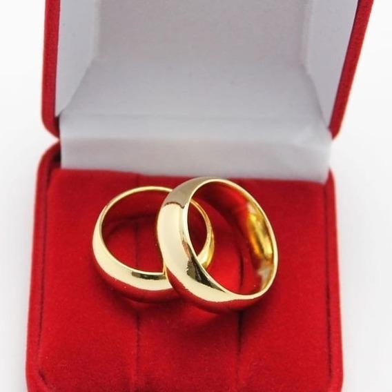 Par Alianças Casamento 6mm Banhada Ouro 18 K + Brinde