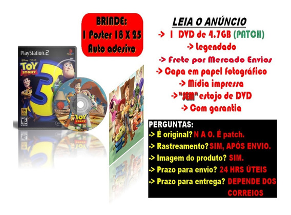 Toy Story 3 The Videogame Para Ps2 + Brinde