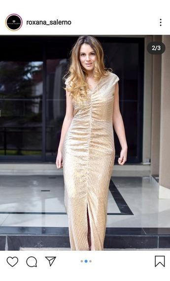 Vestido Largo Roxana Salerno Color Dorado Tela Con Spandex