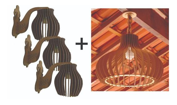 Kit Luminarias - 1 Pendente 45cm E 3 Arandelas