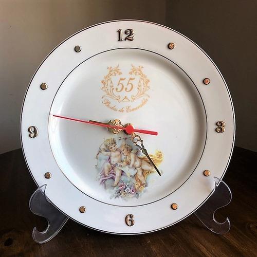Imagem 1 de 4 de Relógio Anjo Bodas De Esmeralda 55 Anos De Casamento