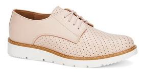 Zapato Flat Oxford Rosa Andrea 2664200 Agujetas Suela Blanca