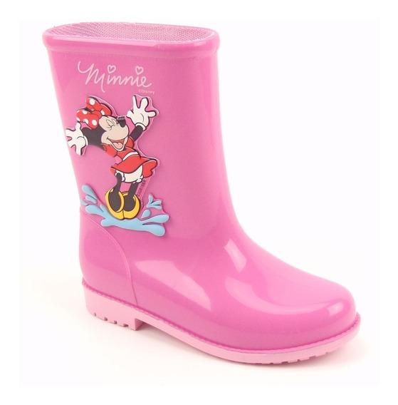 Galocha Bota Infantil Disney 21753 Na Cor Rosa Lançamento