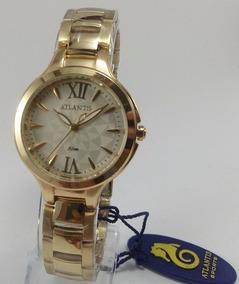 Relógio Atlantis B3433 Dourado Fundo Branco - Novo Original