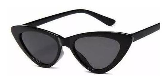 Oculos Sol Gato Cat Eye Gatinho Luxo Preto Rêtro