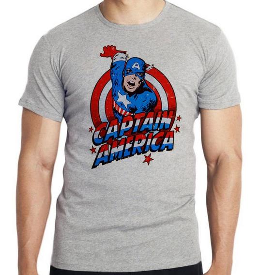 Camiseta Infantil Kids Capitão América Cartoon Marvel Avenge