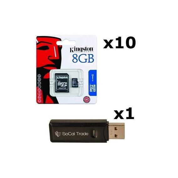 10 Pack - Kingston 8gb Microsd Hc Class 4 Tf Microsdhc Trans
