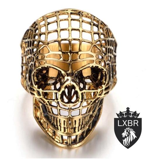 Anel 3d Aço Inox 316l Ouro 18k Caveira Punk Maçonaria Mason Maçom Lucifer Dourado 3d Moto Viking Olho Ice Out Lxbr A52